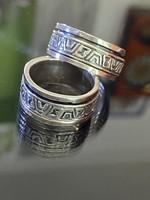 Azték mintás ezüst gyűrűpár