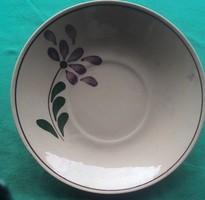 Népművészeti kerámia tányér - okkersárga - 20 cm átmérőjű