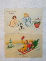 2 db vintage grafikus képeslap/üdvözlőlap Karácsony, fenyő, angyalok