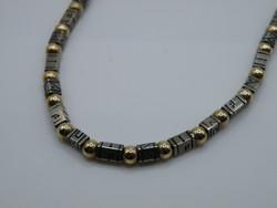 KK1251 RITKA!  Modern Art NOY LI ezüst és 14K arany nyaklánc Izrael