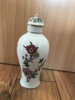 Hollóházi porcelán szegfűs urna váza fedeles váza