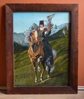 Solymász nemesi hölgy lóháton - Ismeretlen festő, olaj karton, kerettel 86 x 68 cm, jn.