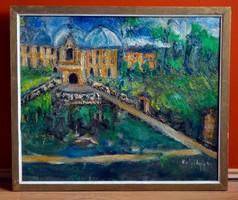 VÁLYI NAGY Dezső (1906-1981) festmény, olaj farost, kerettel: 54 x 64 cm, jjl.
