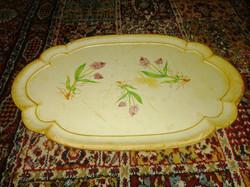 Antik fa tálca gyógynövény dekorral antique wooden tray, wood tray