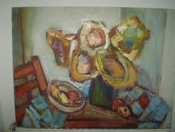 Altorjai Ístván:Napraforgós csendélet c. Képcsarnokos festménye.80x60cm 20