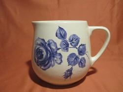 Gyönyörű, Kispesti gránit csupor, bögre ritka kék rózsa mintával