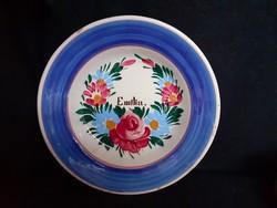 Nagyon ritka neves fali tányér, EMILIA, Apátfalva, keménycserép falitányér