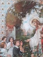 Régi emléklap 1933 Első szentáldozási emlék falikép képkeret