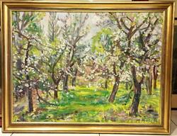 Orosz Gellért (1919-2002) : Virágzó fák,60 x 80 cm, olaj-farost