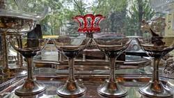 Üveg bort pezsgő pohár.Ezüst talpú. Dianas. 1900-as évek.4 db-os szett