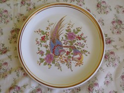 Madárkás angol aranyozott porcelán falitányér.