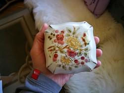 Zsolnay dús virág  mintás pillangós porcelán nagy bonbonier