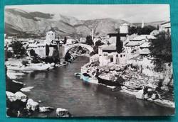 """Mostar, Bosznia-Hercegovina,Öreg híd,""""még a lerombolás előtt """"fekete -fehér képeslap"""