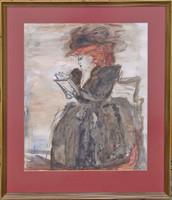 Gyönyörű szignált női portré - szép keretben