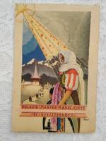 Vintage magyar Karácsony/Új Év művészlap/képeslap Bozó Gyula, folklór, népviselet