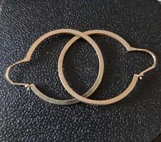 Antik ezüst karika fülbevaló, jelzett, aranyozott, 4 gramm súlyú, átmérője 2,8  cm