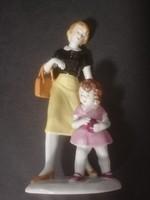 Volkstedt-Anyuka kislányával,Hibátlan porcelán