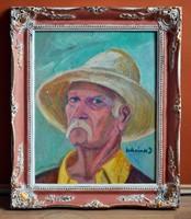 SCHREINER J. festmény - Kalapos önarckép, olaj farost, kerettel: 65 x 54 cm, jjl.