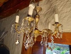 Bronz csillár csiszolt üveg függőkkel