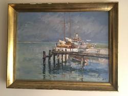 """Holba Tivadar (1906-1995) Balatoni kikötő 1974 """" A Szemesi kikötő˝"""