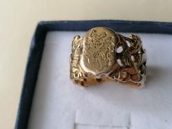 Antik Nemesi címeres 14 karátos pecsétgyűrű. Igazi ötvösmunka