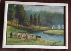 Szignózott Mesterházy Dénes festmény üvegezett keretével, 33x42 cm