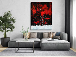 Vörös Edit: Jackson Pollock Style Abstract N1801 120x90cm
