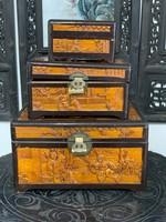 Kínai faragott szantálfa doboz szett 3 db, keleti, ázsiai
