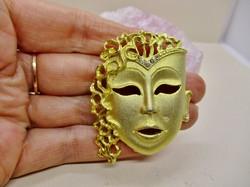 Gyönyörű antik art deco karneváli álarc bross