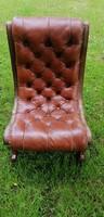 Chesterfield Regency bőr szék fotel réz verettel. Ritka!!