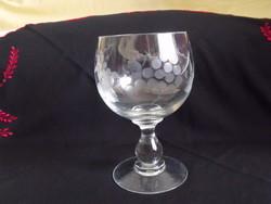 Üvegkehely biedermeier stílusban csiszolt boros pohár üveg kehely