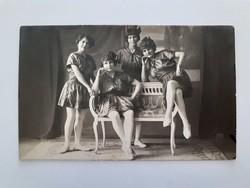 Régi női fotó vintage csoportkép fénykép