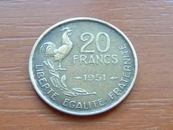 FRANCIA 20 FRANCS FRANK 1951 ( G. GUIRAUD) 4 TOLL,KAKAS #