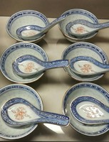 6 db új kínai színes rizsmintás leveses tál kanállal