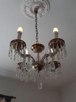 Hibátlan 4 ágú kristály csillár üveg réz vintage mennyezeti lámpa