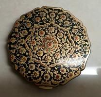 Stratton márkájú fekete-arany virág mintájú púder kompakt