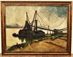 Novotny Emil Róbert (1898 - 1975) Hajók a Dunán 1932 c. olajfestménye 90x70cm EREDETI GARANCIÁVAL !