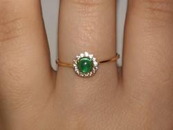 14k arany zöld köves gyűrű