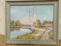 Őszi tópart, Olaj festmény,