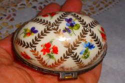 Limoges francia porcelán ékszertartó  fém szerelékkel