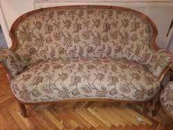 Biedermeier kanapé + 1 hozzátartozó fotellel