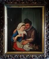 Antik extra ritkaság! Gróf Andrássy Dénes (1835-1913) festmény! Szép, hozzá illő keretében!