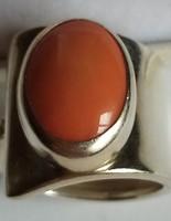 Ezüst gyűrű korall kővel, különleges, egyedi darab