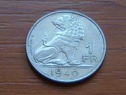 BELGIUM BELGIE - BELGIQUE 1 FRANK 1940 OROSZLÁN King Leopold III. #