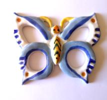 Retro iparművészeti kerámia pillangó falidísz
