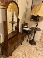 Art Deco diógyökér borítású fésülködő szekrény állítható tükörrel-gyönyörűen felújítva!