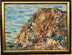 Fehér Etelka Gyelmisné. (1921-)Beli tengerpart c. olajfestménye 90x70cm EREDETI GARANCIÁVAL !