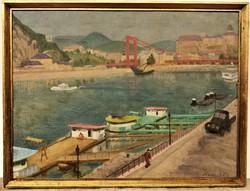 Hranitzky Ilona (1889 - ?) Erzsébet híd építése c. olajfestménye 84x64cm EREDETI GARANCIÁVAL !