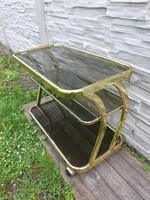 Art deco réz-üveg zsúrkocsi,tálaló asztal 84 x 44 x 61 cm.