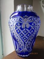 Nagyméretű régi kék ólomkristály váza. 26 cm ritka gazdag csiszolással